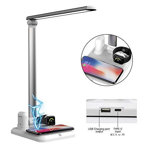 TEEPAO Quadruple QI Wireless Charger Lampe, Legierung, 10 W schnelle, kabellose Ladestation mit LED Schreibtischlampe für iPhone, iPod, IWatch, Samsung Android Geräte gleichzeitig