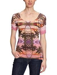 Custo - Camiseta de manga larga con cuello pico para mujer