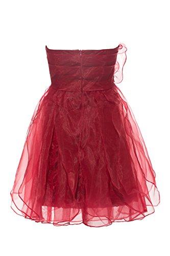 YiYaDawn Kurzes Tüll Ballkleid Abschlusskleid Partykleid für Damen Weinrot