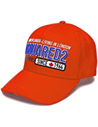 DSQUARED2 Accessori da Uomo Cappello Baseball Arancione Logo SS 2019 1ac50a4f0c7b