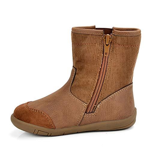 Qianliuk Kinder Schneestiefel mit seitlichem Reißverschluss Kindermode Khaki Leder Mitte der Wade Stiefel Mädchen Jungen Winter warme Stiefel Oshkosh Khaki