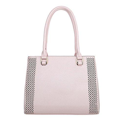 iTal-dEsiGn Damentasche Mittelgroße Schultertasche Handtasche Kunstleder TA-K702 Hellrosa