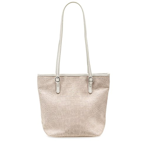 TAMARIS IVY Damen Handtasche, Mini Shopper, Kroko-Optik, 3 Farben: light grey, light blue oder candy Candy
