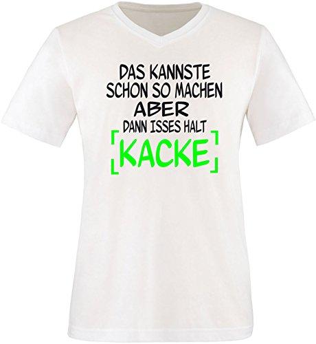 EZYshirt® Das kannste schon so machen aber dann isses halt kacke Herren V-Neck T-Shirt Weiß/ Schwarz/ Neongr