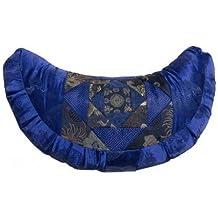 Brocado––Cojín de meditación Azul Media Luna relleno de kapok
