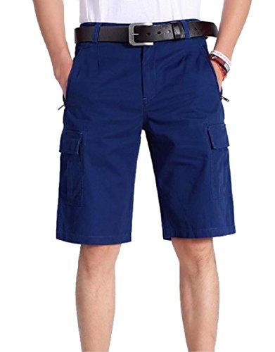 CuteRose Men's Cotton Oversize Straight Big Pockets Classic Cargo Shorts Pants 35 Blue Cotton Classic Baggy Pants