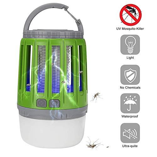 Bosunny Linterna Camping Antimosquitos Lámpara, (2 en 1) Luz de LED Portátil Recargable USB Luz de Camping IPX-4 Luz de Mosquito UV Impermeable para Uso en Interiores y Exteriores (Verde)