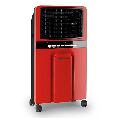 oneConcept Baltic Red • Rafraichisseur d'air • ventilateur mobile • 65W • fonction humidificateur et ionisateur • 3 niveaux de puissance basse, moyenne, haute • portable • 400m³/heure • roulettes pour en déplacement facile • rouge