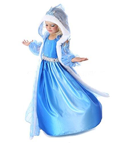 Prinzessin Kostüm Kinder Glanz Kleid Mädchen Weihnachten Verkleidung Karneval Party Halloween Fest (Prinzessin Ariel Kostüm)