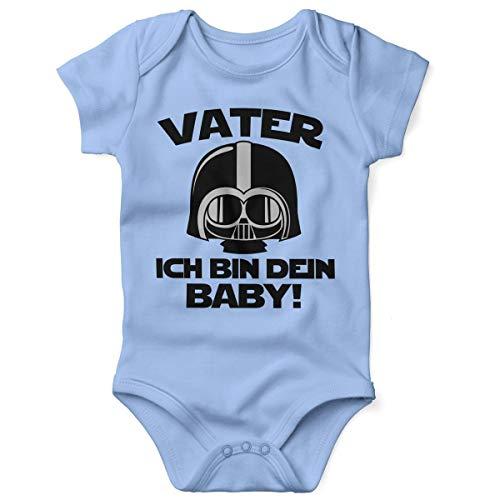 Mikalino Babybody mit Spruch für Jungen Mädchen Unisex Kurzarm Vater - ich Bin Dein Baby! | handbedruckt in Deutschland | Handmade with Love, Farbe:Sky, Grösse:74
