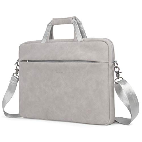 Kamlui Laptoptasche 13,3 Zoll - für Damen - Matt Leder PU Schultertasche Messenger Laptop Tote Bag Aktentasche - für MacBook Air Dell Lenovo HP Samsung Suitable for Laptop 13-14 Inch (Gray) - Fall Matt Macbook 13 Pro-fall