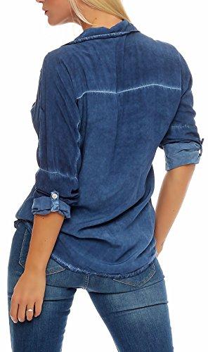Malito Damen Bluse IM Washed Look   Tunika mit ¾ Armen   Longsleeve in Unifarben   Elegant