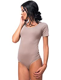 Evoni Damenbody | Overall Bodysuit mit Rundhals für Frauen | Kurzarm-Body Verschluss | Hochwertige Nachtwäsche | optimaler Passform | sportlicher Damen-Body