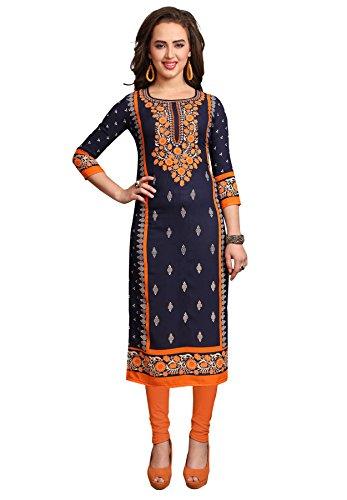 Salwar Studio Women's Dark Blue & Orange Synthetic Printed Unstitched Kurti Fabric...