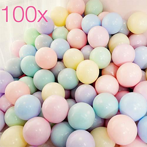 100x Luftballons pastell Ø 35 cm gemischte Pastellfarben Mix Ballon bunt wie blau, gelb, rot, lila, pink, weiß, gold, grün Latexballons für Helium und Luft (100x bunt-mix)(100x pastell - mix)