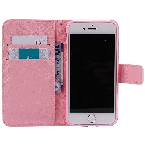 Coque Cuir iPhone 7,Vanki® Retro Fleur Housse PU similicuir à rabat Intérieure Protection Souple Coque Portefeuille TPU Silicone Case Cover Pour IPhone 7 2
