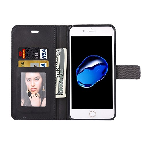 Hülle für iPhone 7 plus , Schutzhülle Für iPhone 7 Plus Business Notebook Style Hit Farbe Horizontale Flip Leder Tasche mit Halter & Card Slots & Wallet & Photo Frame ,hülle für iPhone 7 plus , case f Black