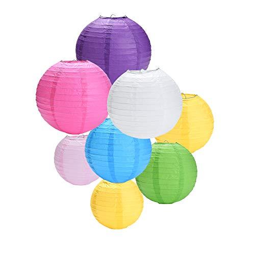 Yizhet 8 Piezas Farolillo de Papel linternas de Papel Redondo para para Decoración, la Fiesta, el Cumpleaños,la Navidad y la Boda,Multicolor