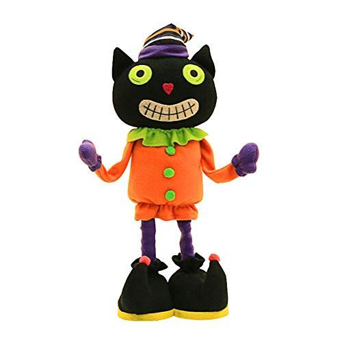 Prosperveil Decorazione di stoffa per bambole in piedi Non intrecciate Halloween (Gatto Nero)