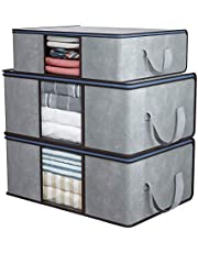 Home Store India Clothes Storage Bag, 3 Pcs Closet Organizer and Storage Foldable Clothing Storage Bag for Clothes, Blanket, Comforter, Underbed Storage, Gray
