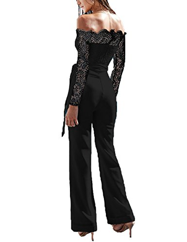 Junshan Damen Jumpsuit Elegant Overall Sommer Catsuit Lang Ärmellos V-Ausschnitt Clubwear Kleidung (38, Schwarz 1)