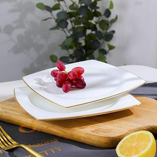 fuweizeng Dessert Plate Porcelain Household Shaped Dish Ceramic Western Steak Plate Cutlery Set Dish 8.5 Inch Gold Side Plate 4 Pack Porcelain Side Plate