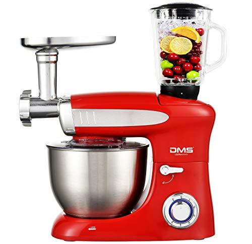 DMS 3 in 1 Küchenmaschine Rührmaschine 6,5 Liter Knetmaschine Edelstahlschüssel Spritzschutz StandMixer Ice Crusher Fleischwolf Teigkneter 6-stufige Geschwindigkeit 1900 Watt Schwarz KMFB-1900 (Rot)