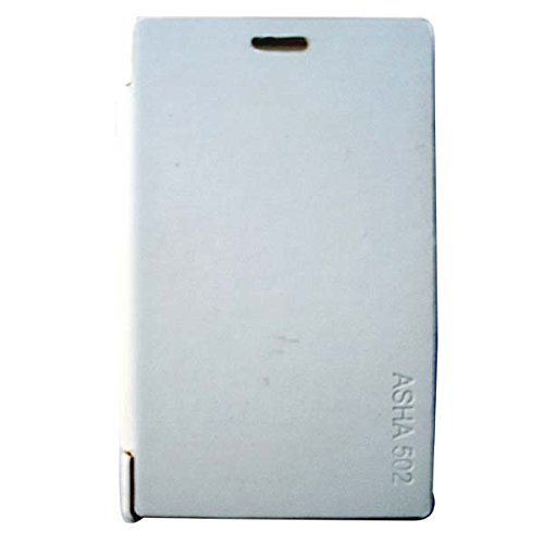 Acm Flip Case For Nokia Asha 502 Mobile Front & Back Flap Folio Cover-White  available at amazon for Rs.179