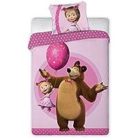 Masha y oso Frambuesa Cama Edredón de Juego Cama Individual y almohada 160x 200Cama (algodón Original