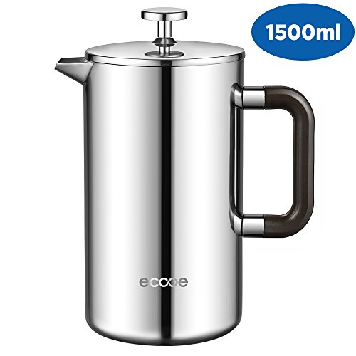 ecooe 1.5L French Press Kaffee Doppelwandiger Kaffeebereiter aus 18/10 Rostenfrei Edelstahl mit 3 Filtern