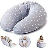 Bamibi Coussin d'allaitement et Coussin de Grossesse pour Dormir Polyvalent + Cale-bébé, Taie 100% Coton Amovible et Lavable, Hypoallergénique