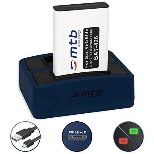 Akku + Dual-Ladegerät (USB) für Garmin VIRB, VIRB Elite | Monterra | Montana 600, 650... - s. Liste! (inkl. Micro-USB-Kabel) -