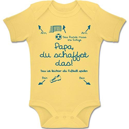 Shirtracer Strampler Motive - Papa du schaffst das Fußball Junge - 3-6 Monate - Hellgelb - BZ10 - Baby Body Kurzarm Jungen Mädchen - Fußball Body