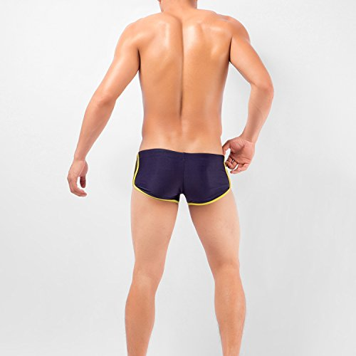 VENI MASEE Schwimmen Hosen für Männer Solid Color High Elastic Square Schnitt Boxer Badeanzug 7 Farbe M-3XL Lila