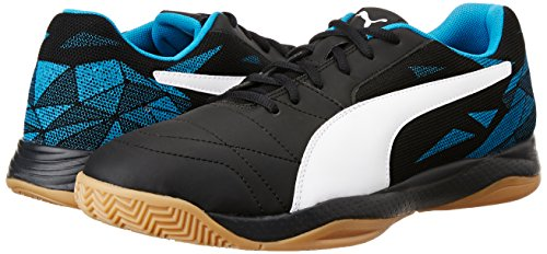 Puma Unisex s Veloz Indoor III Footbal Shoes  Black White-Blue Danube 04  3 5 UK