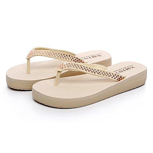SHANGXIAN Feuillet de la femme en strass de sandale été Wedge Sandal White