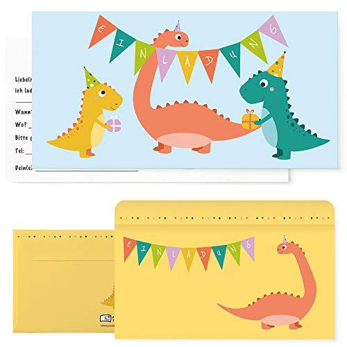Postkartenschmiede 12 Dino Einladungskarten Geburtstag, Dinosaurier Kindergeburtstag Einladung, Einladungen Kinder Jungen Dinoparty-Set mit Dinos