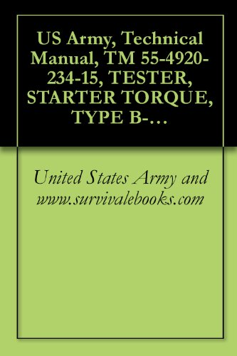 US Army, Technical Manual, TM 55-4920-234-15, TESTER, STARTER TORQUE, TYPE B-1, PART N RT320-200, (FSN 4920-739-4584), (English Edition) Starter-tester