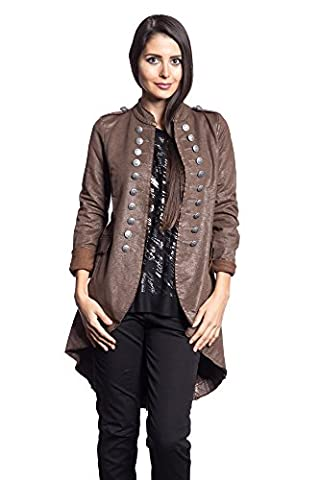 Abbino 14695 Blouson Blazer Femme Fille - Fabriqué en Italie - 6 couleurs - Été Automne Hiver Uni Longues Manches Grande Taille Chaud Vintage Classique Casual Promotion - Marron - XXXL (44)