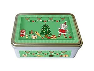 """Boite à biscuits métal """"Noël"""" verte - fabriqué en France - créateur Kalam"""