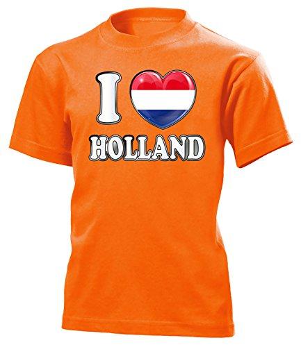 Holland Niederlande Netherlands Nederland Fan t Shirt Artikel 4785 Fuss Ball Kinder Kids Jungen Mädchen Unisex EM 2020 WM 2022 Trikot Look Flagge 164