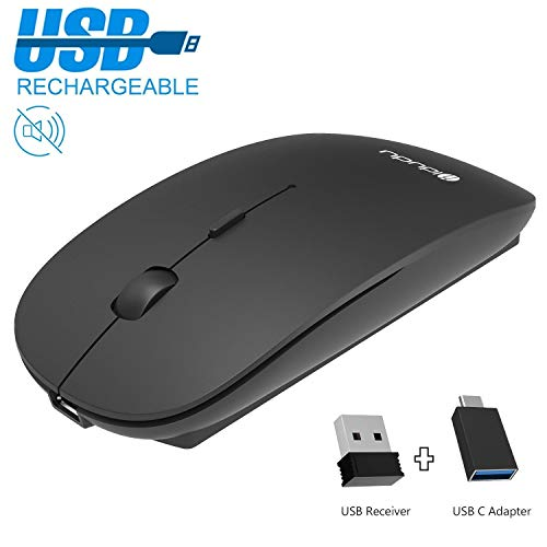 Mouse wireless ricaricabile, 2,4 GHz, con ricevitore USB Nano e adattatore USB-C, mouse ottico per PC, laptop, iMac, MacBook, Microsoft Pro, Office Home
