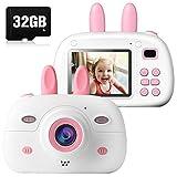 Action Kinder Kamera 8MP Digitale Kamera für Kinder, Selfie Kleinkindkamera mit 2,4 Zoll Farbdisplay und 32GB SD Karte, Front-Heck-Doppellinse, 1080P HD, Geburtstag Geschenke für Kinder, Rosa