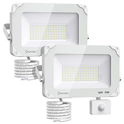 Onforu 60W FocoLEDconSensordeMovimiento 2 Pack, 6000LM Super Potente Iluminación de Seguridad...