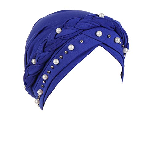 KUDICO Damen Chemo Beanie Turban Mütze Hut Retro Bördeln Indien Hat Wrap Cap Elegant Zopf Kopfbedeckung Muslimischer Kopftücher(Blau, one Size) Angora Watch Cap