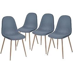 Aingoo Conjunto de 4 sillas de salón de diseño de diseño de Eiffel con las piernas fuertes del metal y el asiento acolchado de la tela, azul coralino