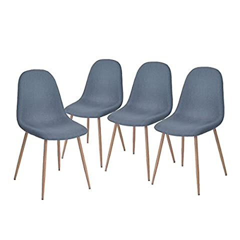 Aingoo Eiffel Design Dining Chairs Set of 4 with Strong Metal Legs and Fabric Padded Seat , Coral Blue