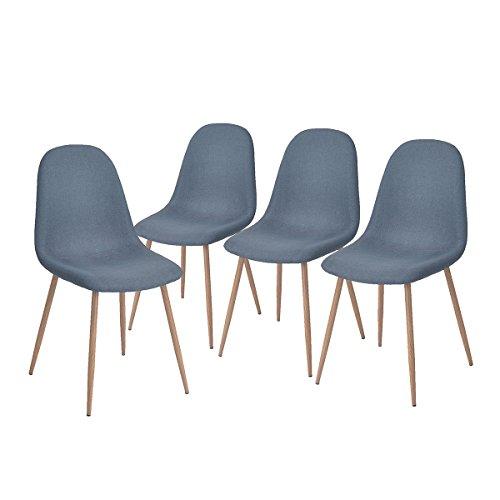 –Juego de 4sillas Scandinaves azul comedor sillas de cocina Vintage de tela, color azul