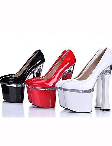 WSS 2016 Chaussures Femme-Mariage / Habillé / Soirée & Evénement-Noir / Rouge / Blanc-Gros Talon-Talons / A Plateau-Chaussures à Talons-Cuir Verni white-us7.5 / eu38 / uk5.5 / cn38