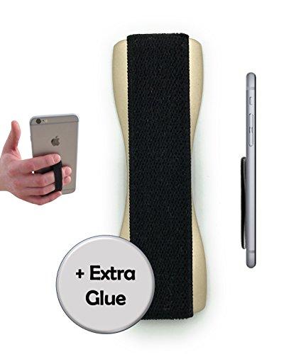 CASE-HERO Premium Smartphone Fingerhalterung | inkl. ERSATZKLEBER | EINHAND Modus für Handy, Tablet, eReader | Hülle & Case | Auto Outdoor Finger Halterung | iPhone 6/7/plus, iPad, Samsung Galaxy... Gold